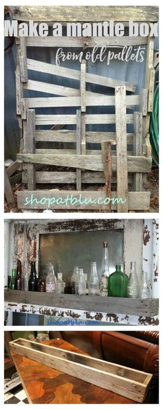 Make a skinny mantle box for bottles out of old pallet wood!  Quick project and easy!