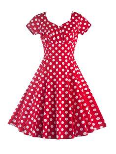 Sweet Heart Pleated Bodice Polka Dot Skater Dress