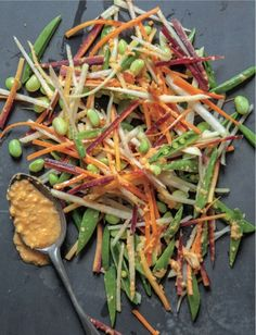 Kolrabi, edamame and carrots in a ginger miso marinade. The ginger-miso marinade in this recipe is thick and so mind-blowingly delicious that you'll want to eat it by the spoonful!