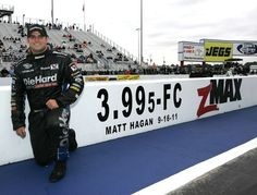 Matt Hagan set a record at zMAX Dragway in 2011, running the first sub four-second Funny Car pass.