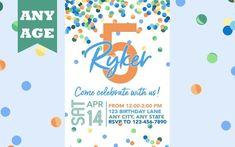 Fifth Birthday Invitation, Blue Confetti, Boy 5th Birthday Invite, Confetti Birthday, Any Age, Printable, Boy Birthday Invitation, Printed