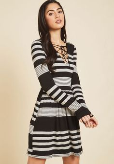Coffee Shop Reading Long Sleeve Dress in Grey Stripes. As the scent of espresso and the soft jersey knit of this striped dress tickle your senses, your own spoken words please the ears of others. #grey #modcloth