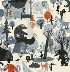 Illustrations, Book Illustration, Character Illustration, Bear Art, Owl Art, Textures Patterns, Print Patterns, Nature Collage, Scandinavian Folk Art