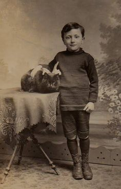 Boy with cat , late 19th century , photographer and date unknown