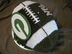 Green Bay Packers 3-D Football Cake < Now THIS is an excellent cake idea! #UltimateTailgate #Fanatics