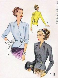 1940s Classy Side Wrap Button Blouse Pattern McCall 7066 WW II Stunning Peplum Overblouse Day or Evening Draped Shoulders Two Sleeve Lengths Bust 36 Vintage Sewing Pattern