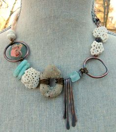 Beach Shell Statement Necklace  Coral  by MoobieGraceDesigns, $50.00