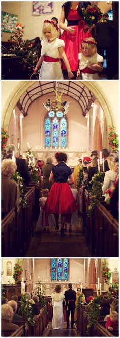 #Kent #Wedding #Photographer - Rebecca Douglas #Photography #winter #church #red #girls #bridesmaids #flowergirl #cute #gold #flowers #army #vicar #Christmas #aisle #bride