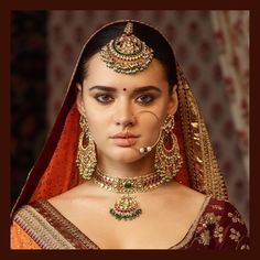 The classic sabyasachi sangeet jewelry. Made in gold with uncut diamonds, emeralds, rubies and Japanese cultured pearls. Indian Jewelry Sets, Indian Wedding Jewelry, India Jewelry, Bridal Jewelry, Indian Bridal, Bengali Wedding, Bridal Bangles, Ethnic Jewelry, Real Gold Jewelry