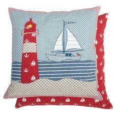 Clayre & Eef Kissenbezug mit Leuchtturm und Segelboot in blau-rot 50x50