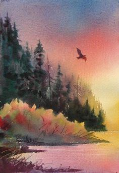 Bald Eagle at Sunset by Karen Mattson Watercolor ~ 9.5 x 7