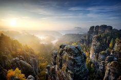 Beautiful panoramic view at sandstone rocks during foggy sunrise at. Parks, 4k Uhd, Sunrise, Rock, Mountains, Travel, Beautiful, Ebay, Smart Tv