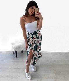 4 Estampas de Roupas - Estampas da moda 2020, estampas da Stylish Summer Outfits, Cute Casual Outfits, Simple Outfits, Casual Dresses, Casual Summer, Tumblr Outfits, Mode Outfits, Skirt Outfits, Fashion Outfits