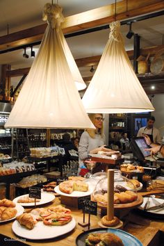 The Life Goddess - a Greek deli in London | Colourliving (check out those lamps! amazing. a possible DIY?)