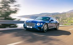 Download wallpapers Bentley Continental GT, 2018, luxurious blue coupe, British cars, road, speed, Bentley