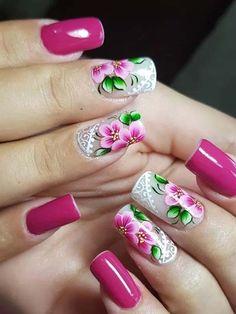 Spring Nail Designs - My Cool Nail Designs Spring Nail Art, Nail Designs Spring, Acrylic Nail Designs, Nail Art Designs, Glitter Manicure, Gel Nails, Acrylic Nails, Cute Nails, Pretty Nails