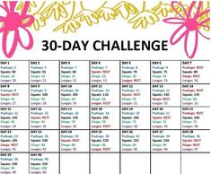 30 day challenge. Fitness.