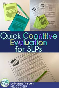 Quick Cognitive Evaluation for SLPs - for Acute, Rehab, or SNF Settings This quick cognitive screening evaluation is designed for medical internship or PRN SLPs to get an easy baseline of patient& skills! Aphasia Therapy, Cognitive Behavioral Therapy, Speech Therapy Activities, Elderly Activities, Speech Language Therapy, Speech Language Pathology, Speech And Language, Cognitive Activities, Therapy Ideas