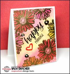 Card by Vicki using Bloom Sketches, Sentiment Builders: Happy, and Sentiment Builders: Love
