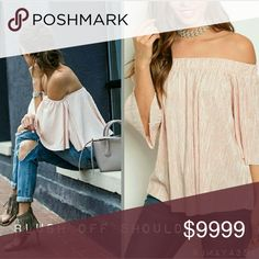 new| FORGET ME NOT BLUSH OFF SHOULDER TOP Totally chic pleated off shoulder blush colored top. Has some shine to it. Total babe must have style staple. Fits TTS.  Fabric Content: 100% Polyester   Sizes available: S M l   ?MODELING SIZE MEDIUM?  ?PRICE FIRM? Tops