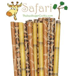 Safari Paper Straws Package of 25 straws in a mix of 4 different patterns. Straw length is 7-3/4 inches. Designs: Giraffe Leopard Cheetah Bamboo