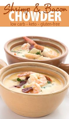 And Bacon Chowder - Keto Soup Recipe Keto Shrimp Chowder with Bacon. This easy and delicious keto soup recipe is pure comfort food! via Shrimp Chowder with Bacon. This easy and delicious keto soup recipe is pure comfort food! Healthy Diet Recipes, Keto Snacks, Low Carb Recipes, Cooking Recipes, Low Carb Soups, Keto Recipes With Bacon, Healthy Food, Cooking Dishes, Paleo Food