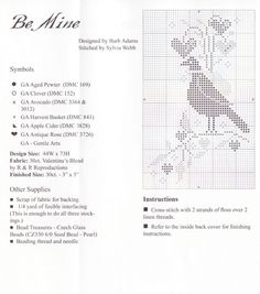 """Valentine Stockings • 5/6 Chart for """"Be Mine"""" with Colour Key and Information"""