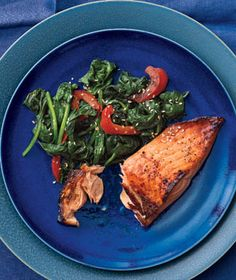 Honey-Soy Glazed Salmon With Spinach and Peppers