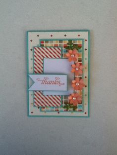 Stampin up in colour thank you card with flower punc