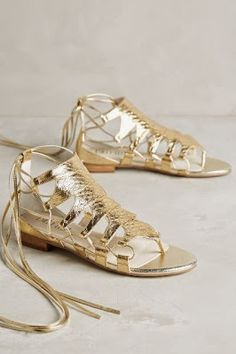 8f6562961 NEW Anthropologie Womens Shoes Billy Ella Embossed Metallic Gold Gladiators  Sz 8
