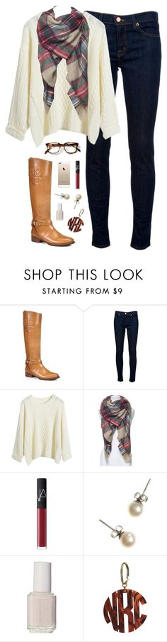 """""""chilly"""" by classically-preppy ❤ liked on Polyvore featuring Tory Burch, J Brand, NARS Cosmetics, J.Crew and Essie"""