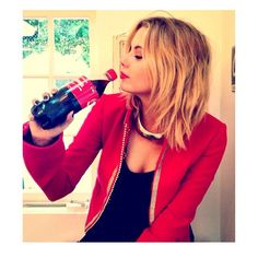 Ashley Benson looks so chic in black and red. | Pretty Little Liars