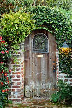 Love these old garden gates and doors! Reminds me of the Secret Garden. Secret Garden Door, Garden Doors, Old Garden Gates, Wooden Garden Gate, Garden Entrance, Patio Doors, Cool Doors, Unique Doors, Old Wooden Doors