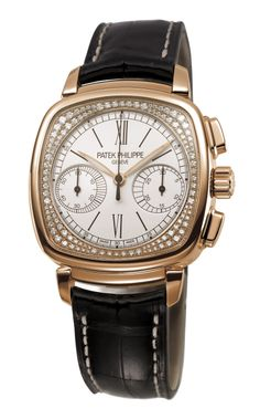Patek Phliippe Reference number 7071, a rose-gold, diamond-encrusted model with opaline dial, and stylishly asymmetric subdials.