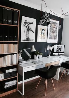 Home Office Wall Decor Unit.Modern Home Office Desk And Bookcase - Mortise Tenon. Home and Family Work Office Design, Office Interior Design, Office Interiors, Small Space Interior Design, Studio Interior, Office Designs, Interior Ideas, Modern Interior, Black Wall Decor