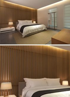 Wall Design Idea - Create A Wooden Vertical Slat Feature Wall bed