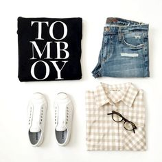 Tomboy Layers || #gingham #bananarepublic #joesjeans #converse #flatlay #outfit #outfitinspo