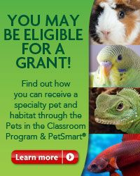 A grant for a class pet through PetSmart. Also, a guide to choosing the right pet for your classroom. 8031