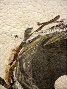 Close-up, The Nest Quilt by Carrie Bloomston, textile art, painting with fabric, fabric art, quilted nest