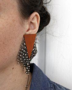 Madi Jane Feather Earrings Leather Earrings Boho Earrings