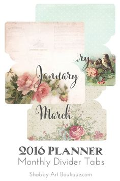Shabby Art Boutique - 2016 printable planner - free divider tabs