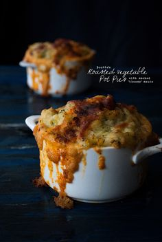 Roasted Vegetable Pot Pies with Smoked 'Cheese' Sauce #vegan