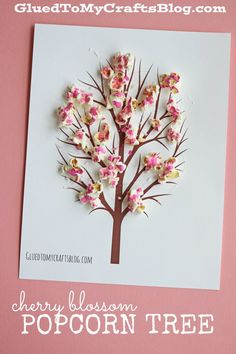 Cherry Blossom Popcorn Tree Kid Craft w/free printable template - Glued To My Crafts Popcorn Crafts, Popcorn Tree, Cherry Blossom Tree, Blossom Trees, Cherry Tree, Spring Activities, Art Activities, Tree Crafts, Flower Crafts