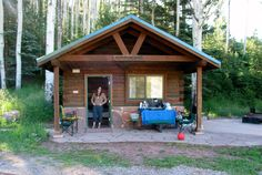 Morning sun shines on a cabin at Sylvan Lake State Park near Eagle, CO