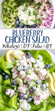 This easy blueberry chicken salad is an easy, healthy salad recipe that's perfect for meal prep lunches or as a way to use leftover chicken. It's Whole30, Paleo, dairy-free and only uses a few simple ingredients. It's great as leftovers, or simple to throw together for gatherings. Made with celery, mayo, pecans and red onion, this Whole30 salad comes together in under 30 minutes! #whole30chickenrecipes #whole30chickensalad #blueberryrecipes #lowcarb #paleochicken Paleo Salad Recipes, Paleo Recipes Easy, Lunch Recipes, Real Food Recipes, Meal Recipes, Whole 30 Chicken Recipes, Paleo Chicken Recipes, Whole 30 Recipes, Paleo Dairy