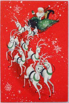#470 50s Hallmark Mid Century Santa & Reindeer- Vintage Christmas Greeting Card