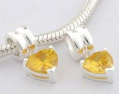 Sterling Silver Pendant Love Heart Yellow Crystal Charms - Pendant Charms - Charms - LYDIA JEWELLERY