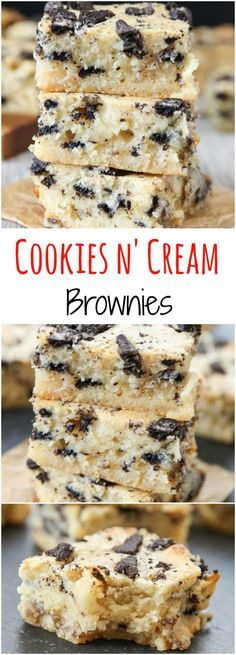 and Cream Brownies Cookies and Cream Brownies. These brownies are ultra fudgy and made with just one bowl and a spatula.Cookies and Cream Brownies. These brownies are ultra fudgy and made with just one bowl and a spatula. Health Desserts, Just Desserts, Delicious Desserts, Yummy Food, Health Foods, Delicious Cookies, Health Recipes, Yummy Snacks, Yummy Drinks
