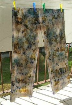 trousers of cotton-eco dyeing - eco printing, eco dyeing, hand made,