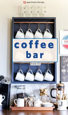 The Coffee Cart is the New Bar Cart: DIY Coffee Carts and Stations | This is the perfect brunch and coffee lover set up. With plenty of coffee mug storage and taste stations, this coffee bar is for you. Gold Bar Cart, Diy Bar Cart, Bar Cart Decor, Bar Carts, Coffee Mug Storage, Coffee Mugs, Home Bar Decor, Kitchen Decor, Kitchen Ideas